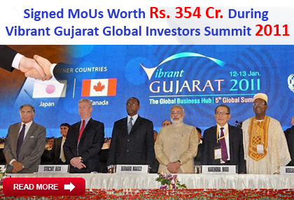 Signed MoUs with Govt Gujarat During  Vibrant Gujarat Global Investors Summit 2011