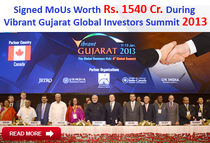 Signed MoUs with Govt Gujarat During  Vibrant Gujarat Global Investors Summit 2013